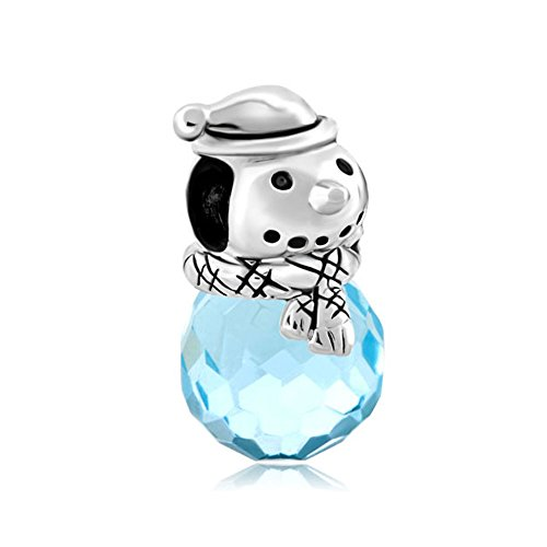 ReisJewelry Christmas Gifts Snowman Snowflake Charms Beads For Bracelets (Blue Snowman)