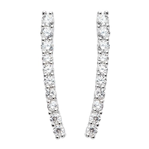 Sterling Silver CZ Curved Vertical Bar Earrings -