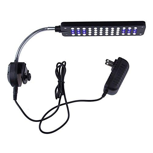 ECTENX Aquarium Led Clip Light, Flexible Clamp LED Lamp with 36 White LEDs and 12 Blue LEDs, 3 Watts - Blue Led Lamp Light