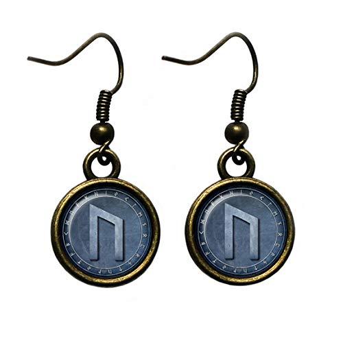 (Viking Runes Elder Futhark Rune Circle U Uruz Power Antique Bronze Earrings)