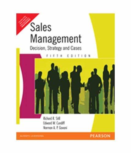 Sales Management : Decisions Strategy & Cases