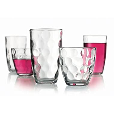 Set of 16 Durable Drinking Glasses ~ Includes 8 Highball Glasses and 8 DOF Glasses ~ 16-piece Elegant Glassware Set