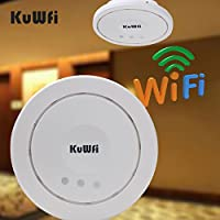 KuWFi Ceiling-Mount Wireless Notwork Access Ponit PoE Long-Range WiFi AP Router Signal for whole home coverage