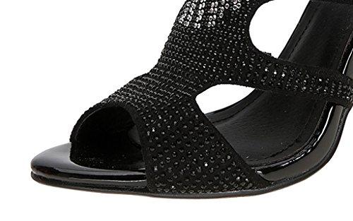 Talons Pompes Velveteen Chaussures Sandales 02 Peep Noir Aiguille Femmes Talon Sexy Orteil Hauts twnUFq8g