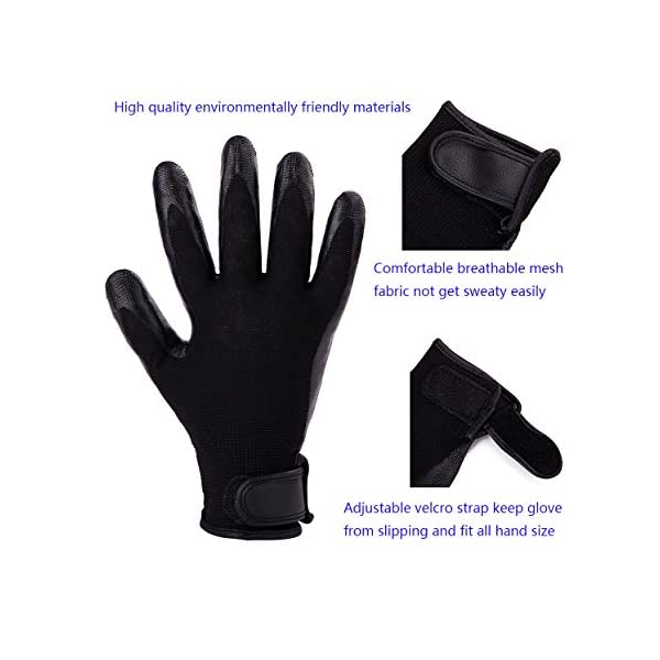 Pet Grooming Massage Gloves with Enhanced Five Finger Design,Gentle Washing DeShedding Brush Tool for Small,Medium,Large Dogs and Cats with Long or Short Hair (1 Pair(Black)) 3
