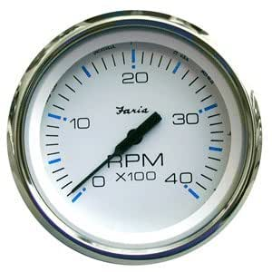 FARIA CHESAPEAKE WHITE SS 4 TACHOMETER 4000 RPM DIESEL Item Category: Boat Outfitting (Sold Per )
