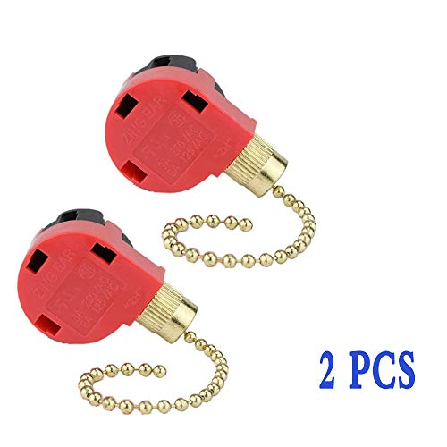 3 Speed Ceiling Fan Switch Zing Ear, Pull Chain Cord Switch,Use for Ceiling Fans, Appliances, Wall Lamps, Cabinet Light, Replacement Speed Control (Red 2 Pack) -  kamoso, CeilingFanSwitch2-red