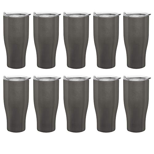 Travel Mugs - 27 oz. - Stainless Steel Grip Travel Mug Tumblers - 10 pack - Insulated Double Wall Tumbler - Smoke