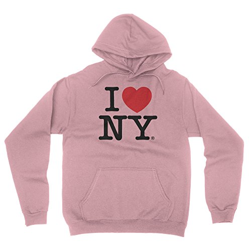 I Love NY New York Hoodie Screen Print Heart Sweatshirt Light Pink Small