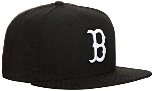 (MLB Boston Red Sox Black with White 59FIFTY Fitted Cap, 7 3/8)