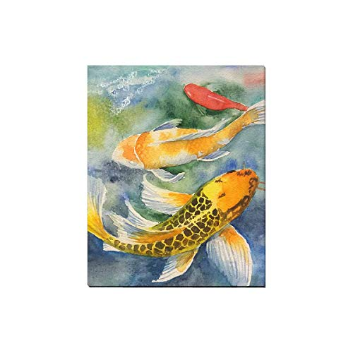 InterestPrint Watercolor Three Carp Koi Fish and Lilies Painting Canvas Prints Wall Art Wood Framed Abstract Artwork Pictures for Home Office Decoration, 16 x 20 Inches