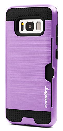 (Maxessory Enhanced Thin Rigid Tough Reinforced Protective Armor Cover W/Reinforced Bumper Easy-Access Card Holder Light Purple Case Compatible with Galaxy S8 2017)