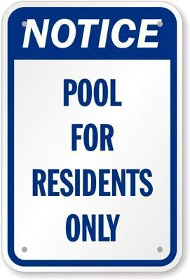 8 X 12 inch Pool Residents Only Sign Feddiy Notice