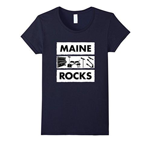Womens Maine Rocks Music T Shirt Medium Navy