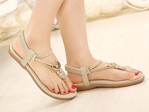 avec femmes perles flip fille plat sandale abricot Sandales Flops dames Flattie Bohême Tongs été Ohmais PpUwqw
