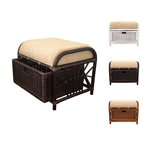 Rattan Ottoman Storage Pouf FootStool Jerry 1Box with Cus...