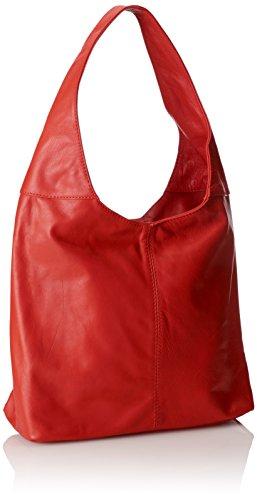 41x55x12cm 100 à véritable la femme sac main fermeture éclair sac Rouge Made Italy in bandoulière cuir dans Rosso en CTM à 1PZXwq