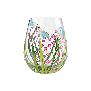 Enesco Lolita Stemless Wine Glass Dragonfly, Artisan-Blown Glass with Hand-Painted Design