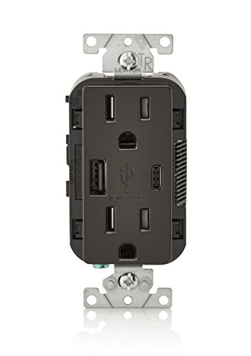 Leviton T5633-B 15-Amp Type A & Type-C USB Charger/Tamper Resistant Receptacle, Compatible with iPhone XS/MAX/XR/X/8/7/6, iPad, Samsung Galaxy S9/S8/S7/S6, Google Pixel and More, Brown