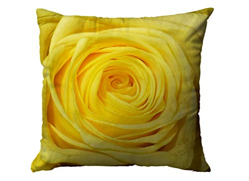 Zusini Cotton Linen Case Cover with Zippered Inside for Home Sofa Decorative Throw Cushion Covers Décor House,16X16Inches Christmas Yellow Rose ()