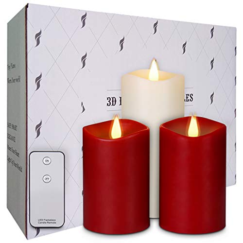 "Amazon.com: La roskey Flameless Candles Flickering Battery Operated Candles with Remote Control Rose Scented Pillar Candles Burgundy 5"" 5"" Ivory 7"" Set of 3 Realistic Dancing LED Flames 3D Wick 500+ Hours: Home Improvement"