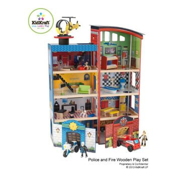 KidKraft Deluxe Home Town Heroes Rescue Wooden Play Set