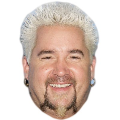 Guy Fieri Celebrity Mask, Card Face and Fancy Dress -