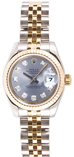 Rolex Ladys 179173 Datejust Steel & 18k Gold, Jubilee Band, Fluted Bezel & Silver Diamond Dial Diamond Dial Fluted Bezel