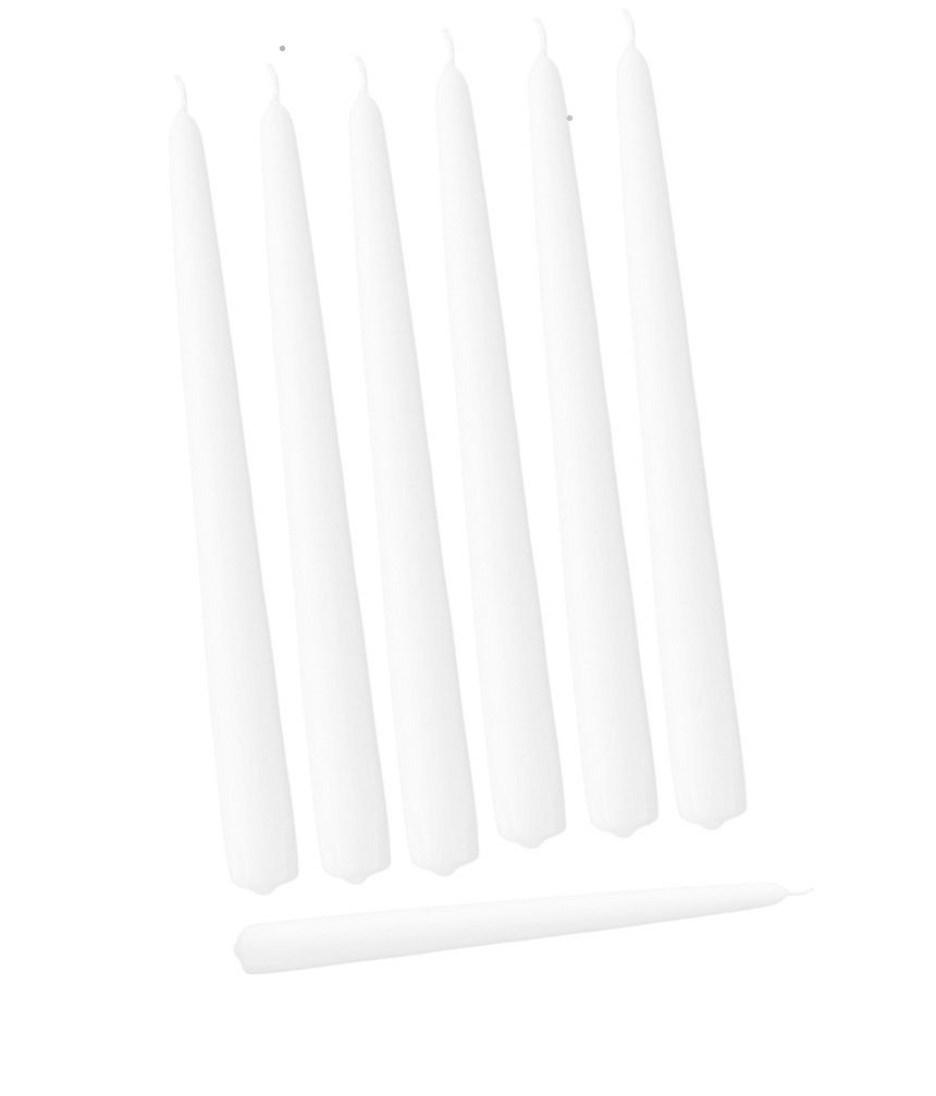 12 Inch Individual Cello Wrapped Taper Candles - Qty 144 (White)