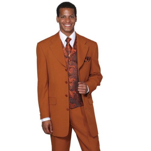 Milano Moda Single Breasted,Double Vent,High Fashion Suit with Matching Vest, Tie & Hankie 52Regular Rust