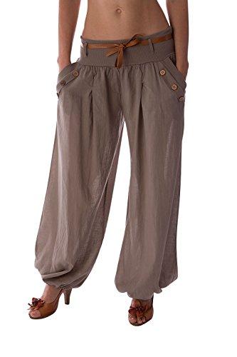 Danaest - Pantalón de harén para mujer, pantalón de Aladino. bombachos (n.º 316) marrón