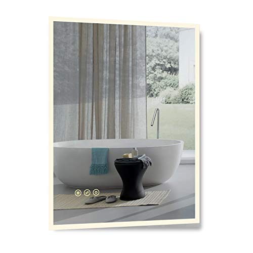 B&C 22x30 inch Super Slim Bathroom Mirror Vertical or Horizontal|LED Backlit|Polished Edge - Frameless Bathroom Install Large Mirrors