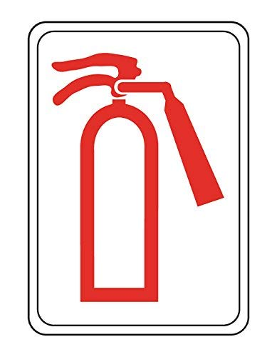 Hillman 848739 Fire Extinguisher Symbol Visual Impact Self Adhesive Sign, White and Red Acrylic Plastic, 5x7 Inches 1-Sign ()