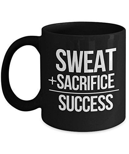 Fitness Lovers Gift - Sweat + Sacrifice = Success - 11 oz Coffee Mug Tea - Abs Ryan Gosling