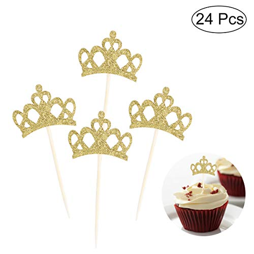 YoungRich 24 Pieces Cupcake Toppers Gold Crown Cup Cake Picks Shining Cute Decorations Party Decor for Cake Cookies Ice Cream Wedding Birthday Party Baby Shower