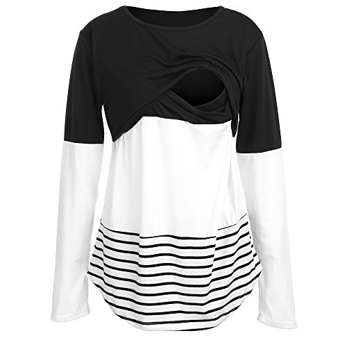 BEAdressy Women Double Layer Striped Print Long Sleeve Maternity Breastfeeding...
