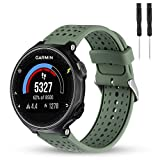 Wizvv Compatible Bands Replacement for Garmin Forerunner 235 220 230 620 630 735, Soft Comfortable Smooth Silicone Wristband for Women Men (Green)