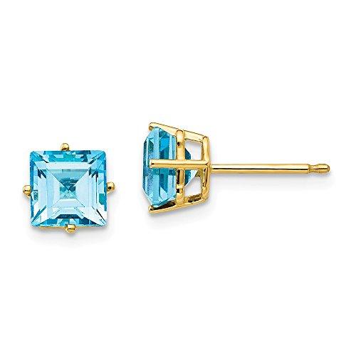 Top 10 Jewelry Gift 14k 6mm Princess Cut Blue Topaz Earrings