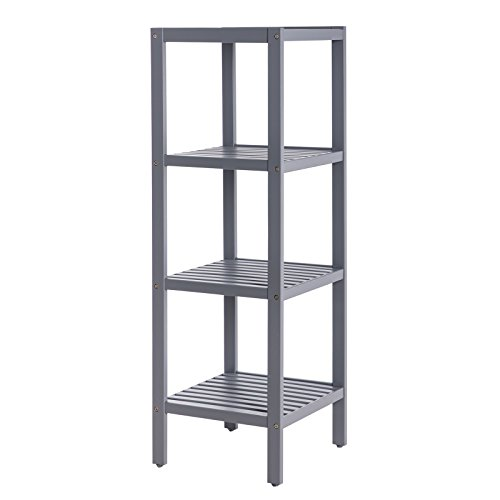 SONGMICS 100% Bamboo Bathroom Shelf Stand Rack 4-Tier Multifunctional Storage Rack Shelving Unit 38.6'' x 13'' x 13''Grey UBCB54GY by SONGMICS