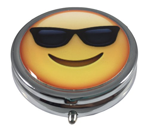 Smiling Face with Sunglasses Emoji Silver Three Compartment Pocket/Purse/Travel Pill Box Case (Faces For Slim Sunglasses)