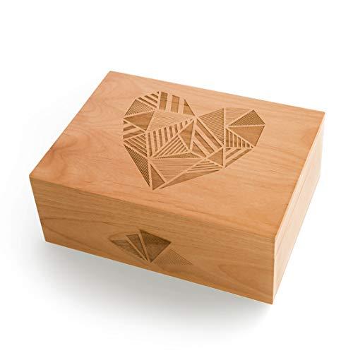 Patchwork Heart Laser Cut Wood Keepsake Box (Wedding or Anniversary Gift/Love/Baby Shower -