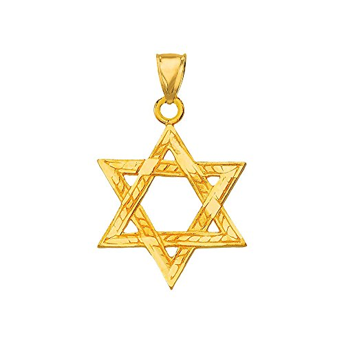 (Solid 14k Yellow Gold Textured Star of David Charm Jewish Pendant)