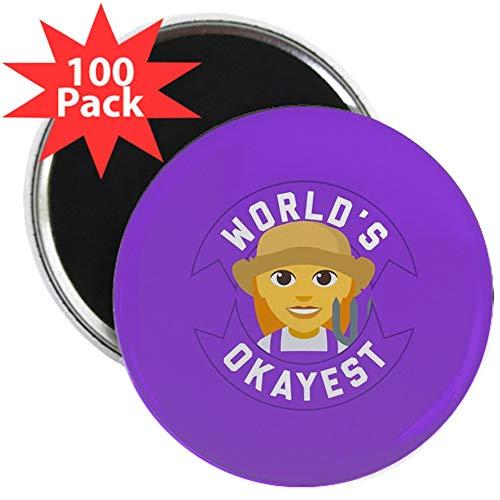 CafePress World's Okayest Farmer 2.25 Magnet (100 Pack) 2.25