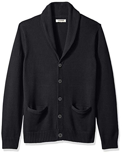 Goodthreads Men's Soft Cotton Shawl Cardigan Sweater, Solid Black, X-Large
