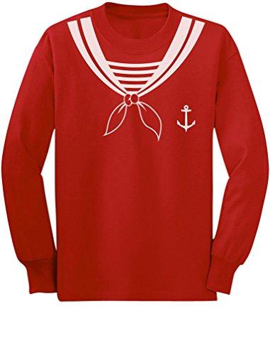 TeeStars - Halloween Sailor Costume Youth Kids Long Sleeve T-Shirt X-Large Red -