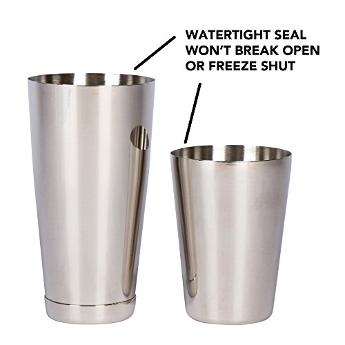 Stainless Steel Boston Shaker: 2-piece Set: 18oz Unweighted & 28oz Weighted Professional Bartender Cocktail Shaker by Top Shelf Bar Supply (Image #2)