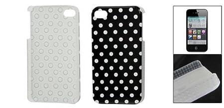Amazon.com: eDealMax De plástico Duro Puntos blancos Negro IMD cubierta trasera del Protector Para el iPhone 4 4G 4S: Electronics