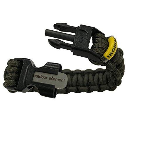 Outdoor Elements (Outdoor Element Kodiak Survival Bracelet - Fire-Starter, Survival Paracord, Tinder, Fishing Line and Hook | Green - Medium)