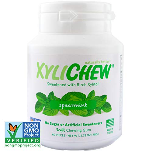 Xylichew 100% Xylitol Chewing Gum Jars - Non GMO, Gluten, Aspartame, and Sugar Free Gum - Natural Oral Care, Relieves Bad Breath and Dry Mouth - Spearmint, 60 Count (Pack of 4)
