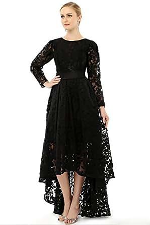 Amazon.com: Newdeve Hi-Lo Round Neck Long Sleeves Black